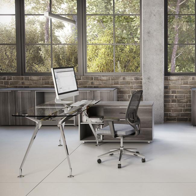 Escritorio de cristal vector muebles de oficina for Muebles oficina cristal