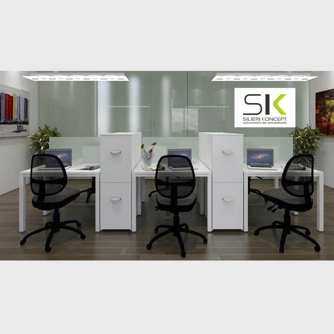 Escritorio plano cuatro modulo venta de escritorios for Muebles de oficina salamanca
